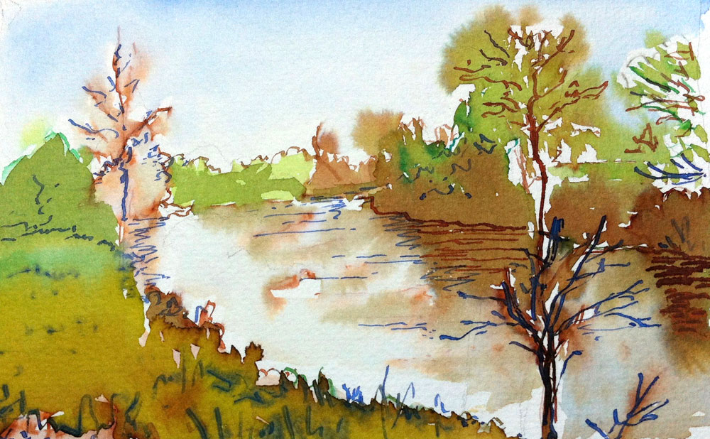 Marianne Ryan Watercolour river painting
