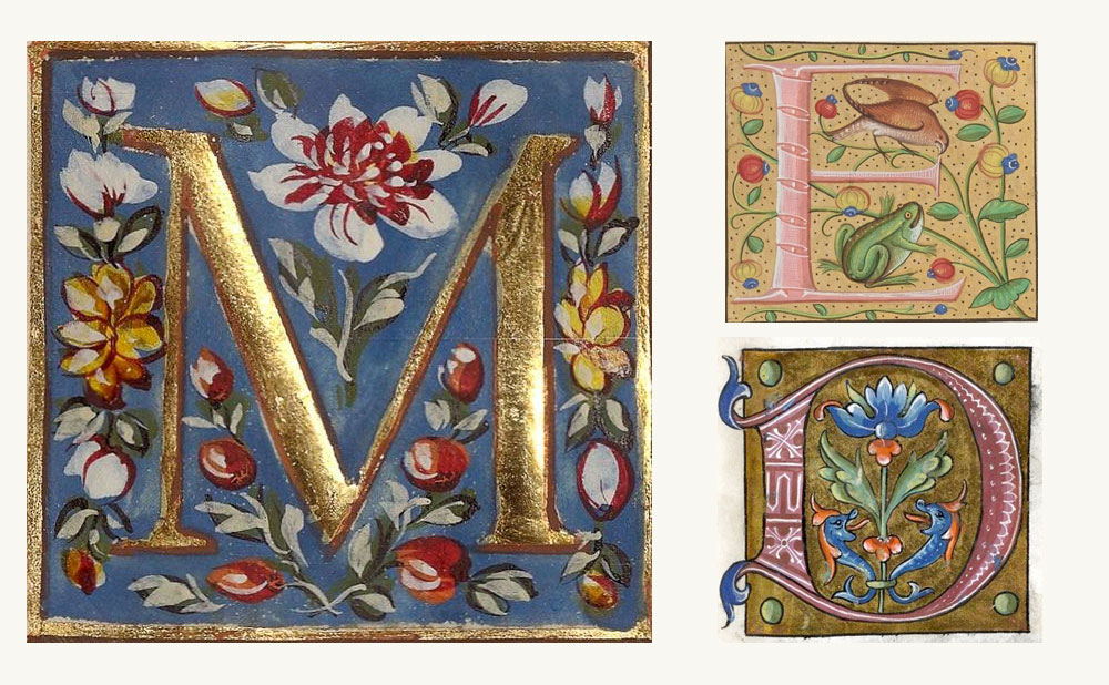 Illustrated initials from mediaeval times